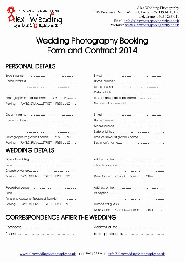 Free Wedding Photography Contract Template Lovely Wedding Graphy Booking form and Contract 2014