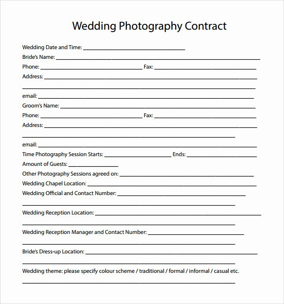 Free Wedding Photography Contract Template Luxury 14 Wedding Graphy Contract Templates to Download