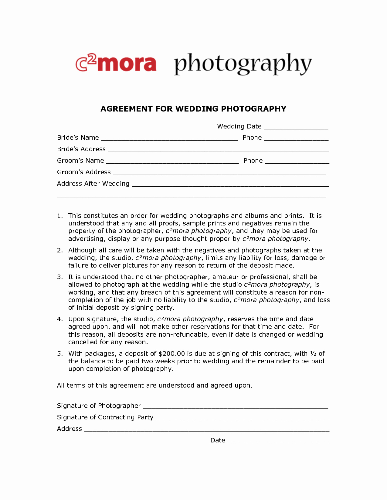 Free Wedding Photography Contract Template New Wedding Graphy Contract Template Free Printable