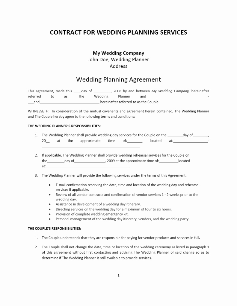 Free Wedding Photography Contract Template New Wedding Planner Contract Template