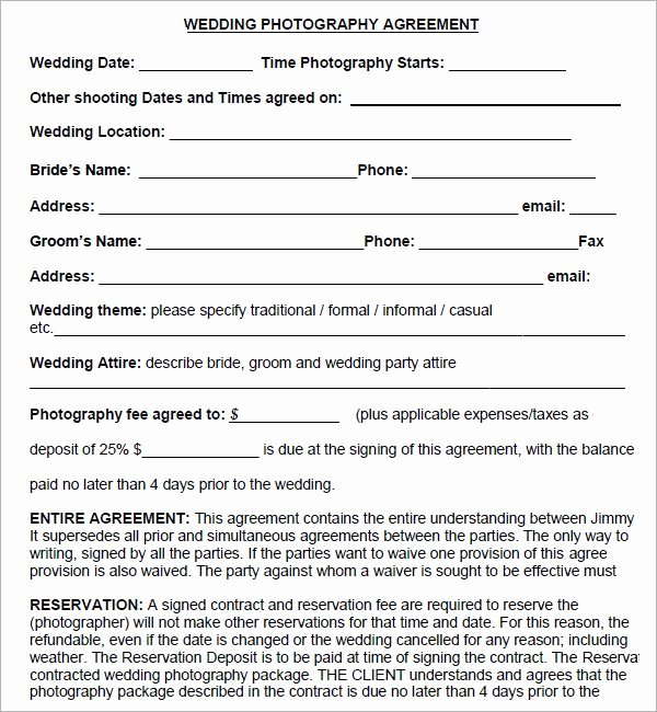 Free Wedding Photography Contract Template Unique Simple Graphy Contract Template