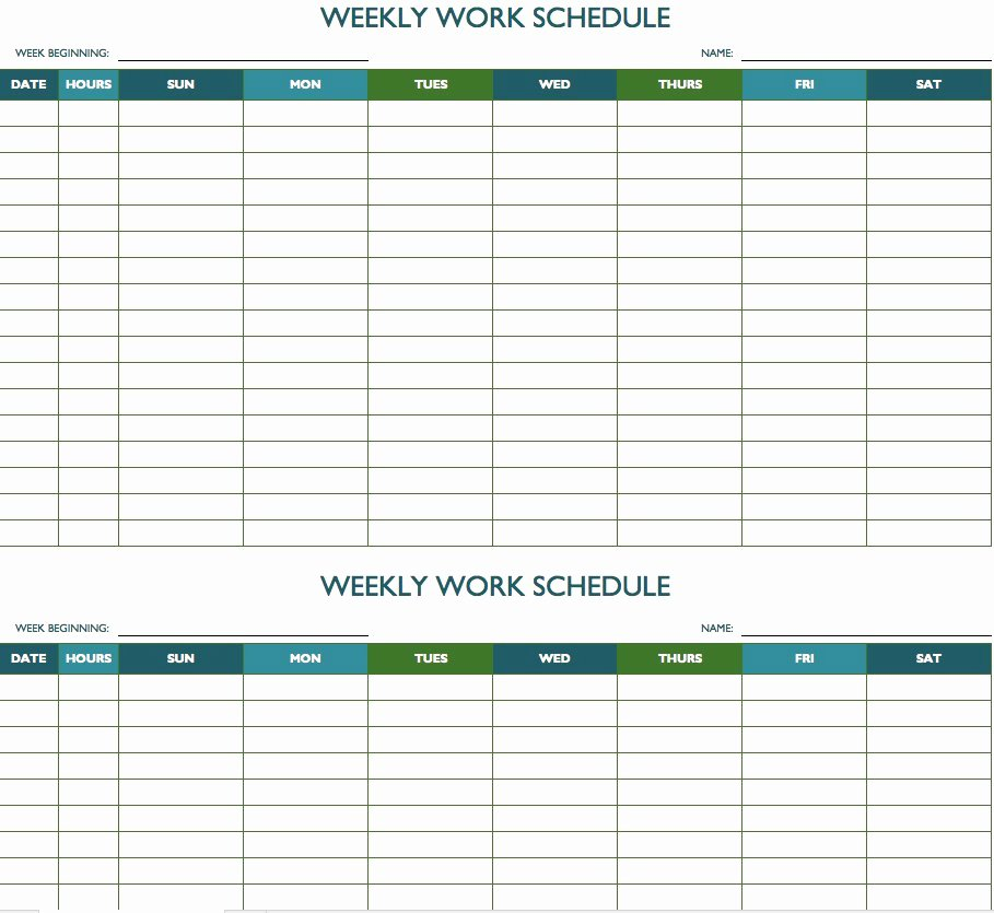 Free Weekly Work Schedule Template Beautiful Free Weekly Schedule Templates for Excel Smartsheet