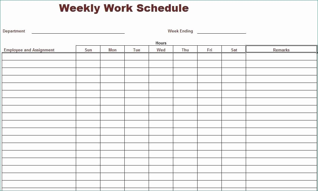 Free Weekly Work Schedule Template Beautiful Inspirational Gallery Free Printable Work Schedule