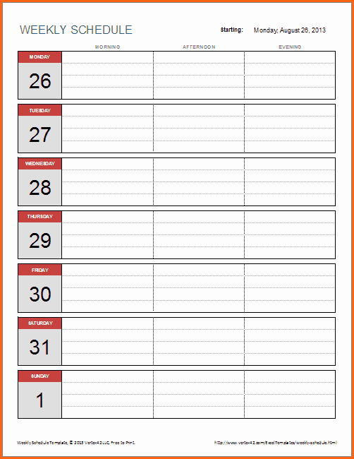 Free Weekly Work Schedule Template Elegant 6 Weekly Work Schedule Template Excel Bud Template