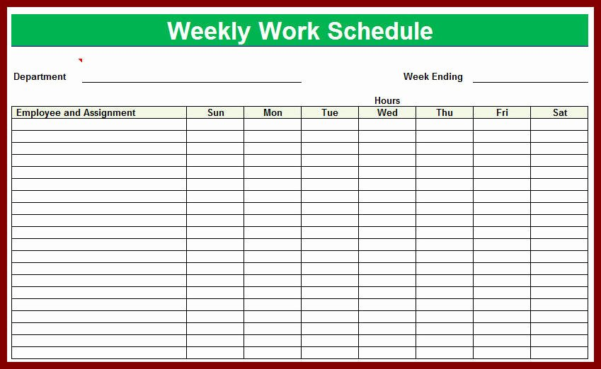 Free Weekly Work Schedule Template Elegant Blank Employee Schedule