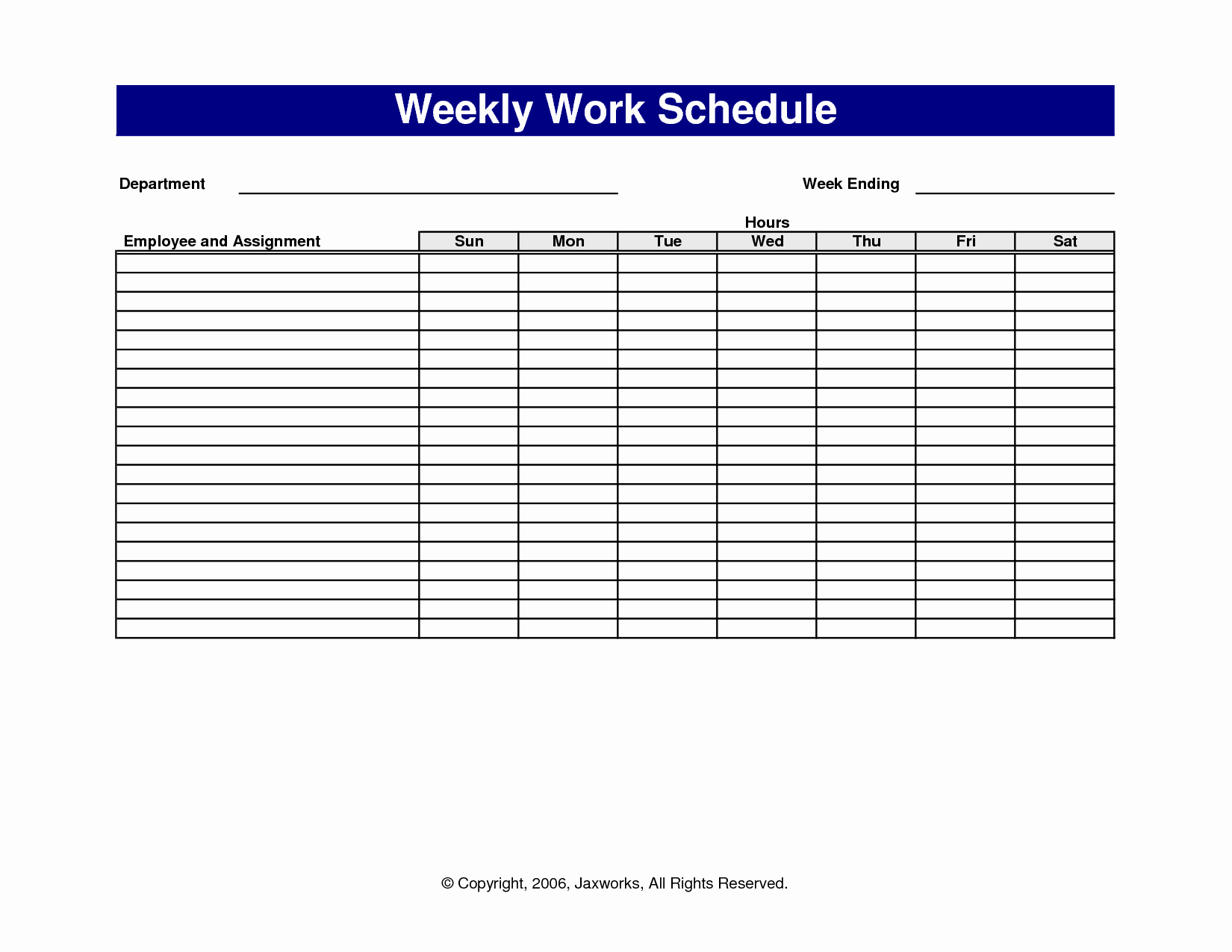 Free Weekly Work Schedule Template Fresh 6 Best Of Free Printable Fice forms Schedules