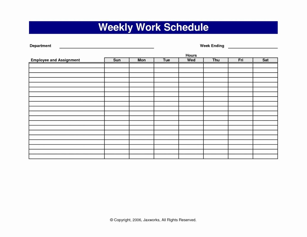 Free Weekly Work Schedule Template Unique Weekly Work Schedule Template