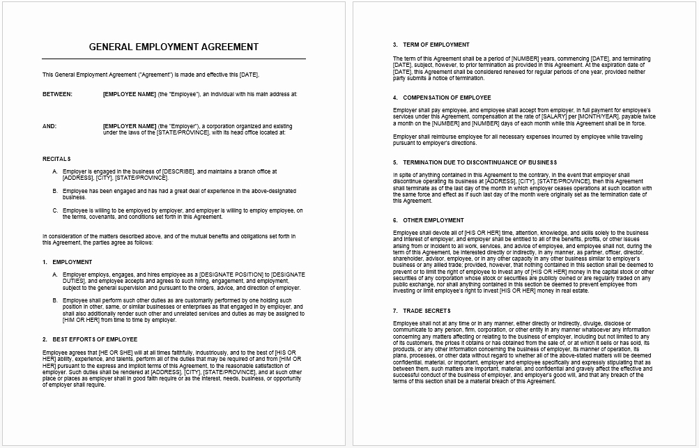 Free wholesale Contract Template New General Agreement Template Microsoft Word Templates