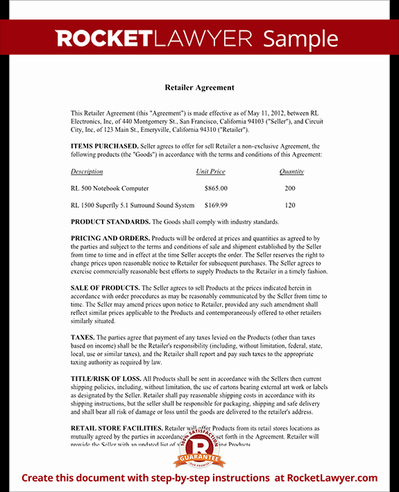Free wholesale Contract Template New Retailer Agreement Retail Purchase Agreement Template