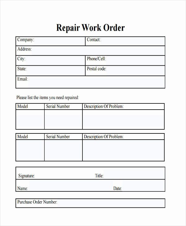 Free Work order Template Elegant 28 Work order Templates Ai Psd