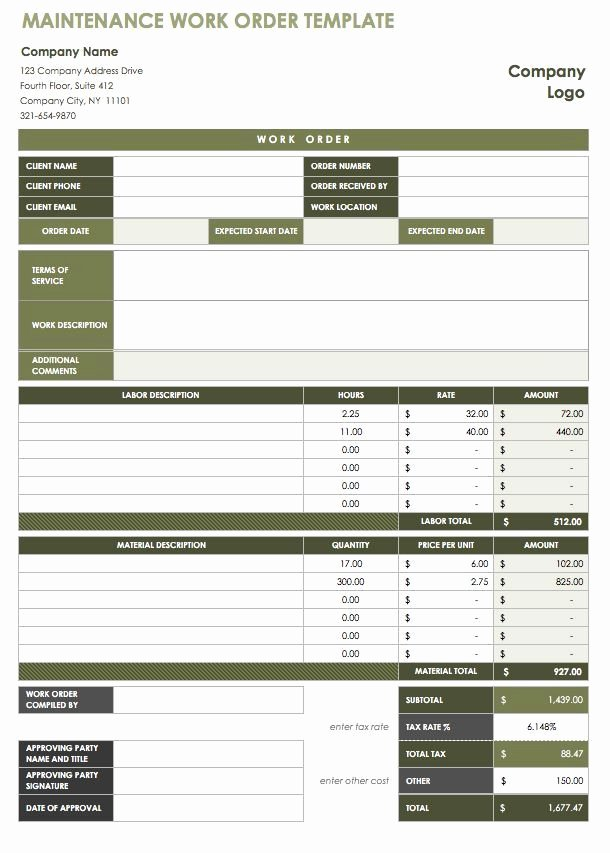 Free Work order Template Elegant 40 Work order Template Free Download [word Excel Pdf]