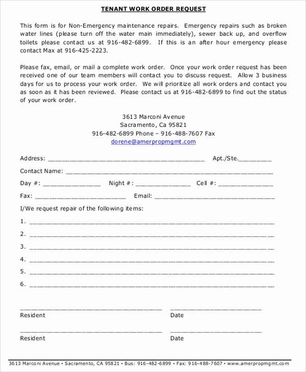 Free Work order Template Fresh Free Sample Work order form 9 Examples In Word Pdf