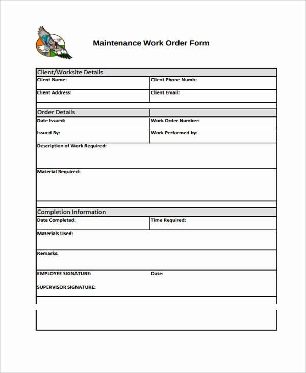 Free Work order Template Luxury Work order Templates 9 Free Pdf format Download