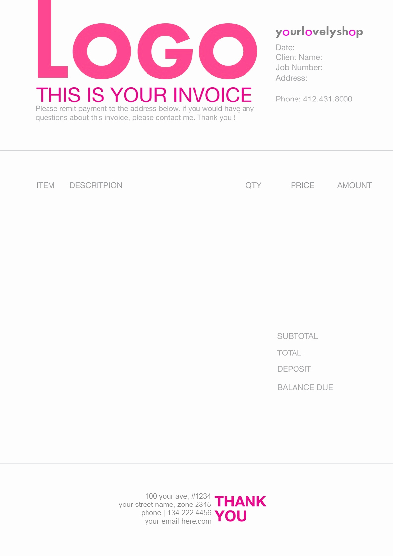 Freelance Design Invoice Template Awesome Example Of Line In Graphic Design