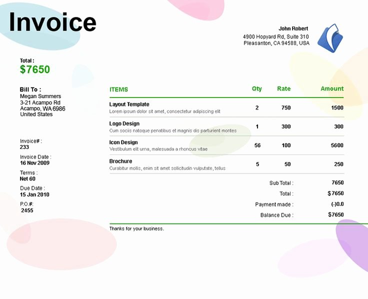 Freelance Design Invoice Template New 17 Best Images About Invoices On Pinterest