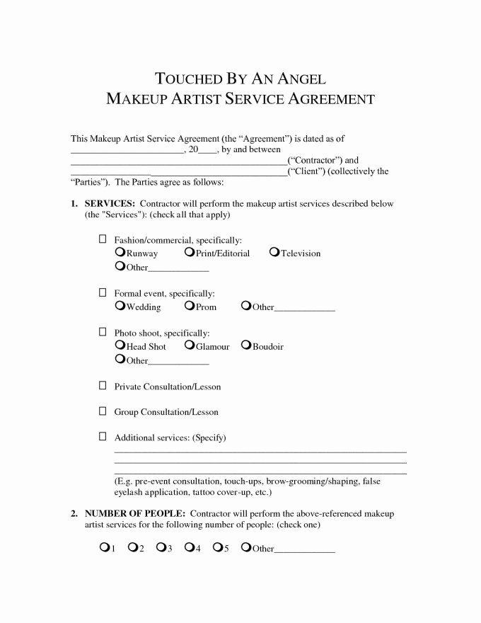 Freelance Makeup Artist Contract Template Elegant Makeup Artist Contract Template Pdf