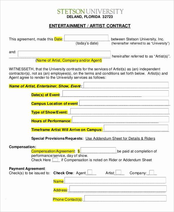Freelance Makeup Artist Contract Template Inspirational 14 Artist Contract Templates Word Pages Docs