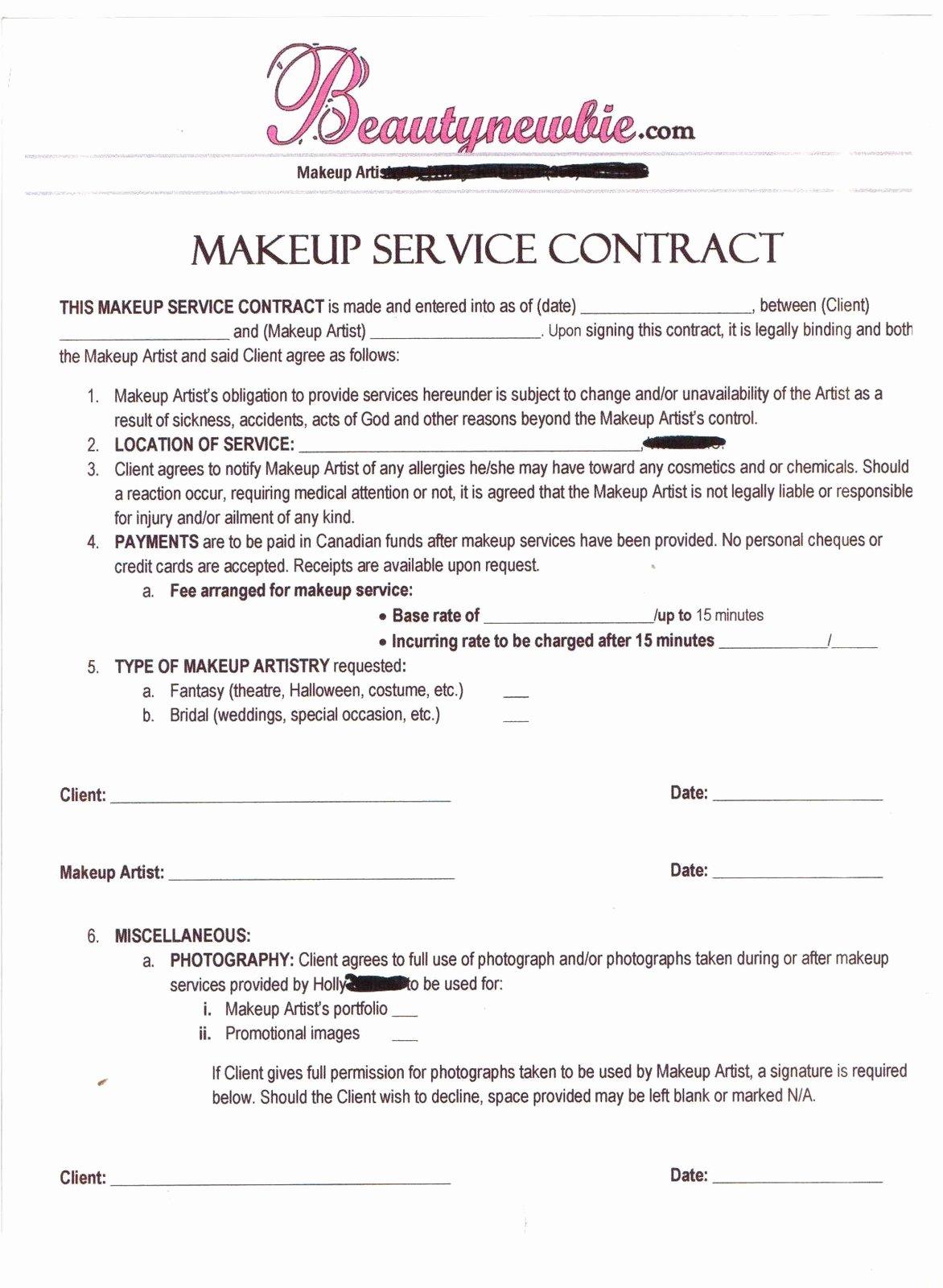 Freelance Makeup Artist Contract Template Inspirational Freelance Makeup Artist Contract Template