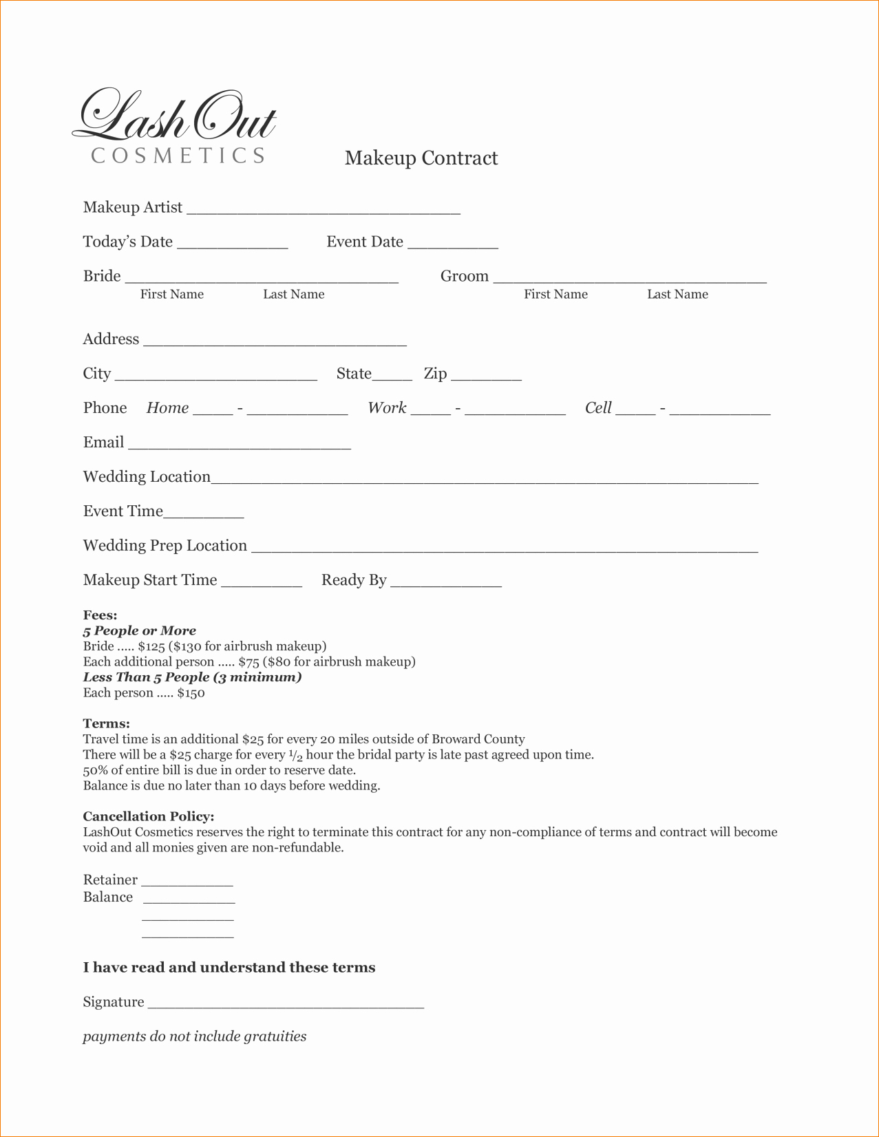 Freelance Makeup Artist Contract Template Lovely 8 Artist Contract Template