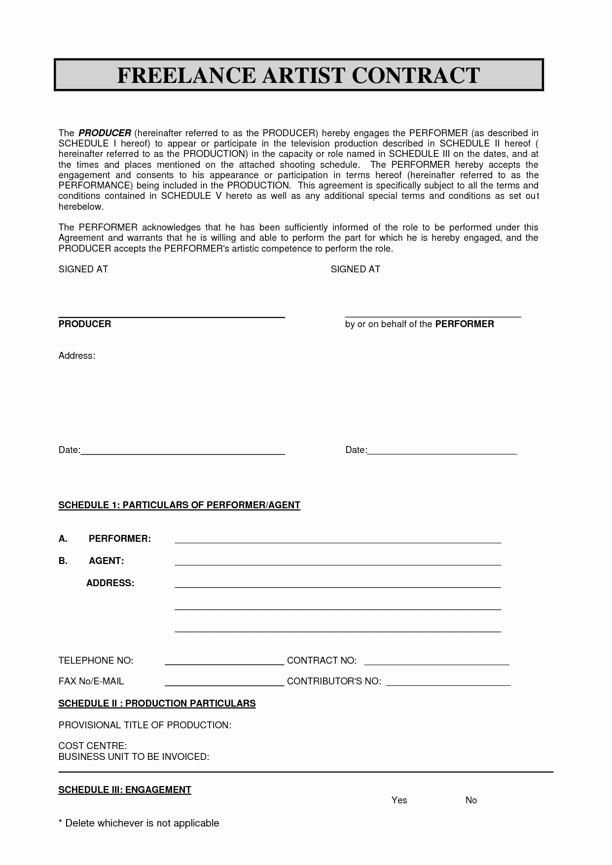 Freelance Makeup Artist Contract Template New Sabc Contract 2010 Pdf Freelance Artist Contract by