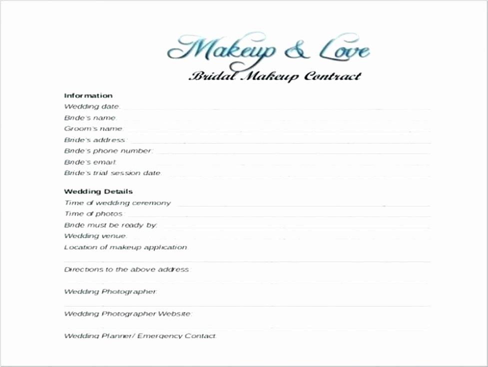 Freelance Makeup Artist Contract Template Unique Makeup Artist Contract for Wedding Example Free Printable