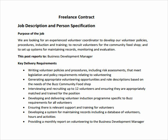 Freelance Video Contract Template Best Of Freelance Contract Template 9 Free Samples Examples