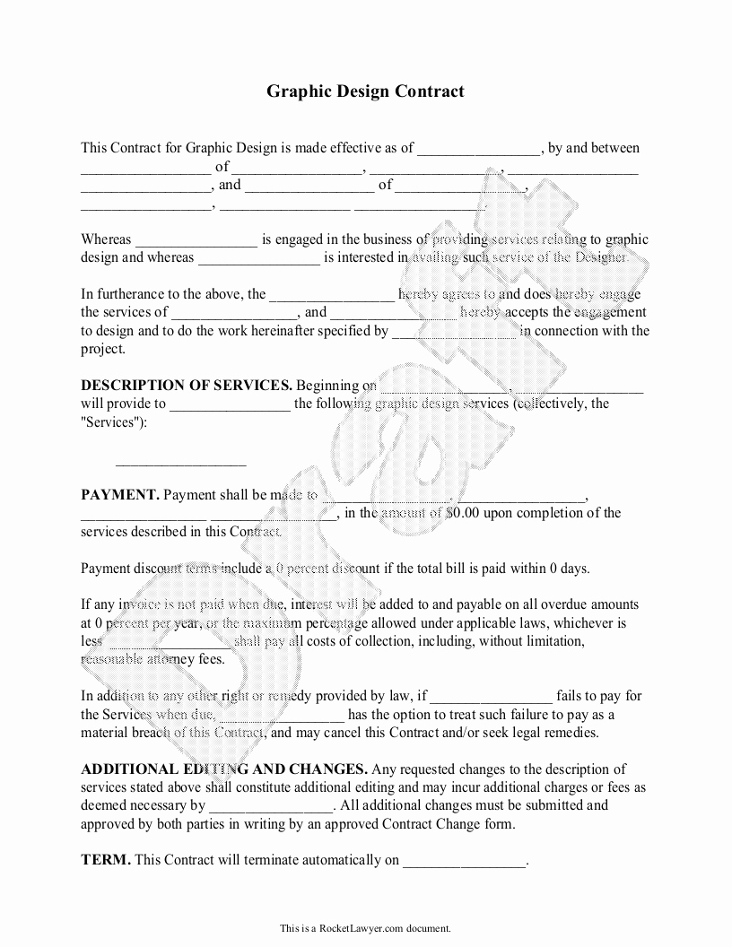 Freelance Video Contract Template Unique Sample Graphic Design Contract form Template