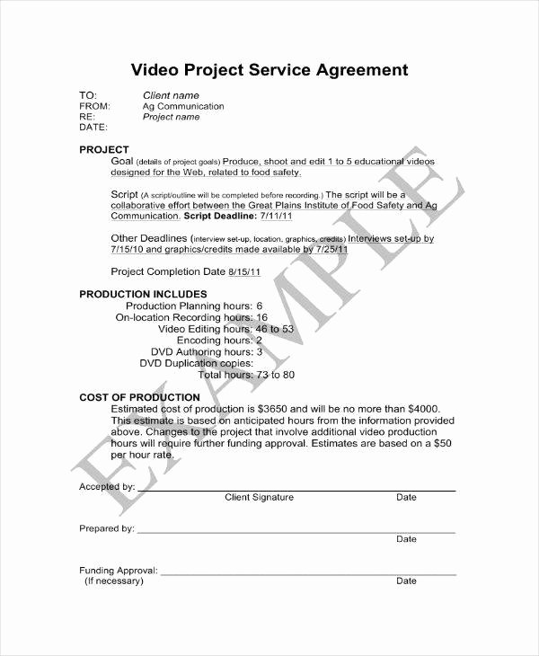 Freelance Videographer Contract Template Beautiful 94 Videographer Contract Sample Pleasant Videography