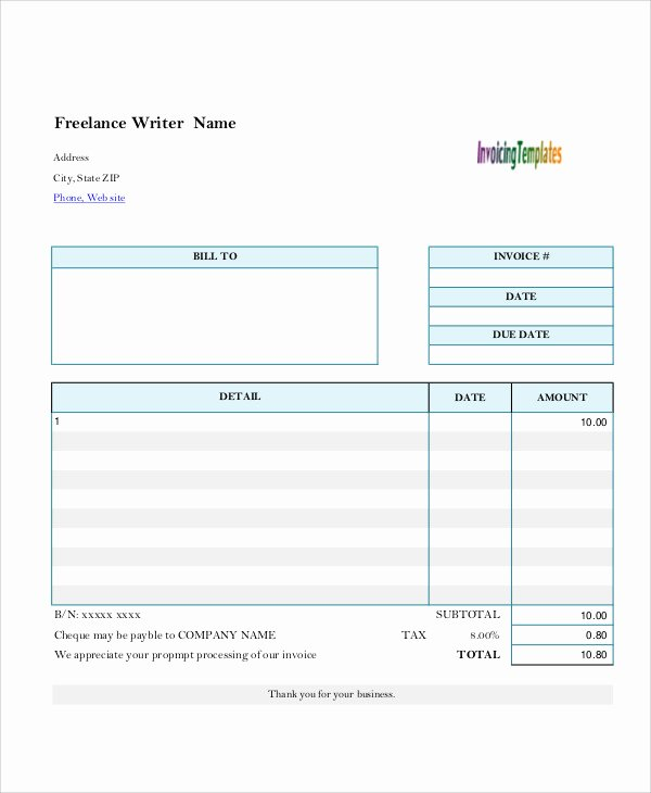 Freelance Writer Invoice Template Fresh 43 Free Invoice Templates