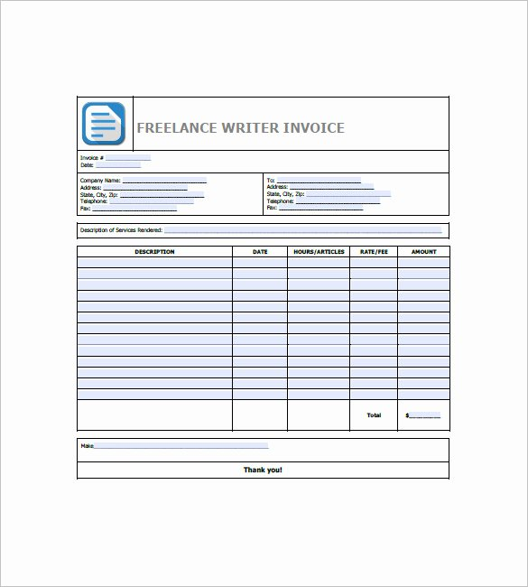 Freelance Writer Invoice Template Fresh Freelance Invoice Template 8 Free Word Excel Pdf
