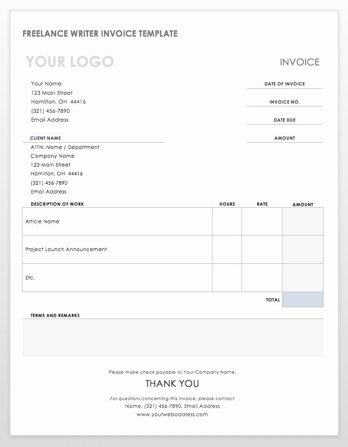 Freelance Writer Invoice Template Lovely 55 Free Invoice Templates
