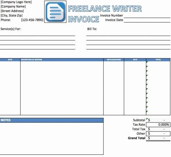 Freelance Writer Invoice Template Lovely Free Freelance Writer Invoice Template Excel
