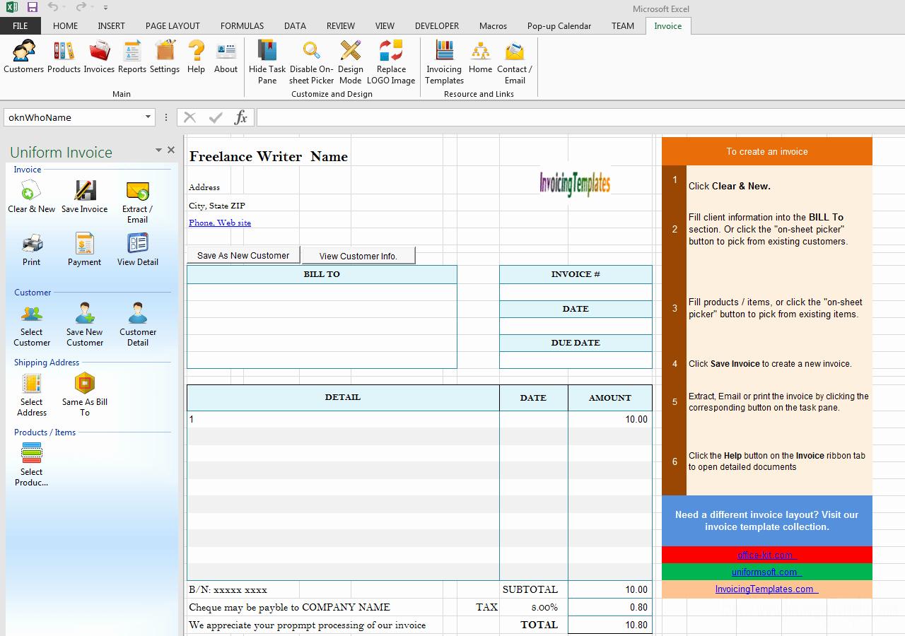 Freelance Writer Invoice Template Lovely Freelance Writer Invoice