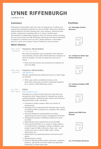 Freelance Writer Resume Template Awesome 9 Freelance Writer Resume Sample