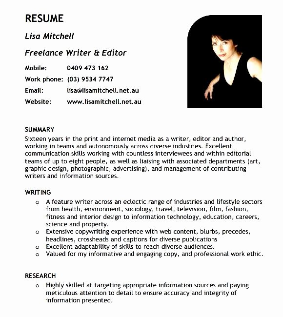 Freelance Writer Resume Template Awesome Freelance Writer Resume Template Free Samples Examples