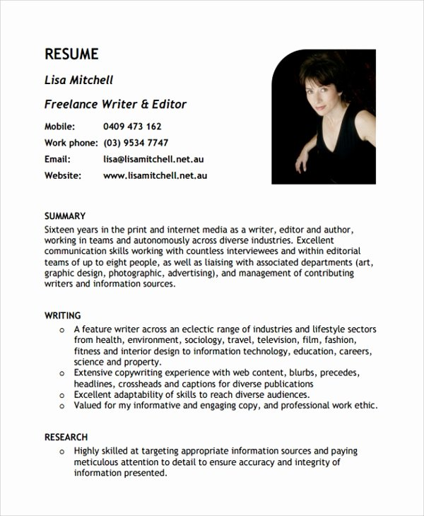 Freelance Writer Resume Template Best Of 9 Freelance Resume Templates