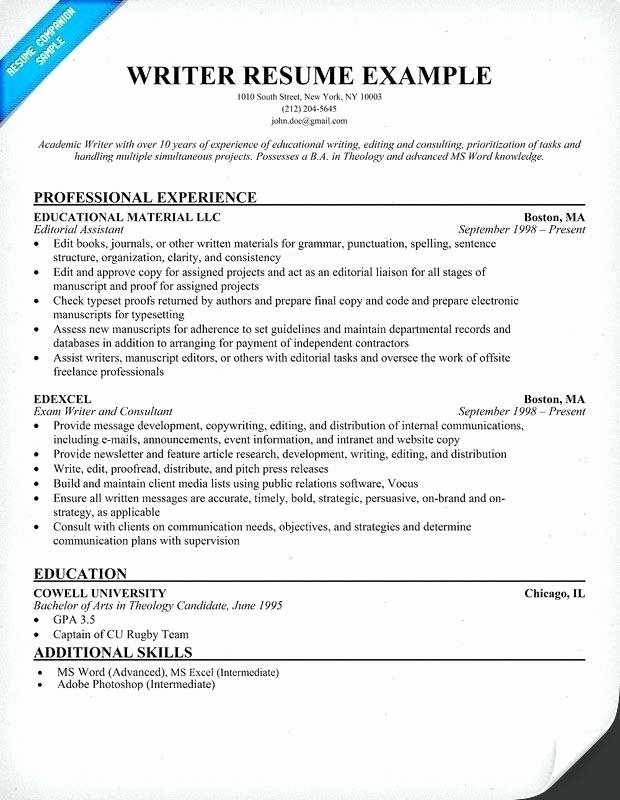 Freelance Writer Resume Template Best Of Writer Resume Template