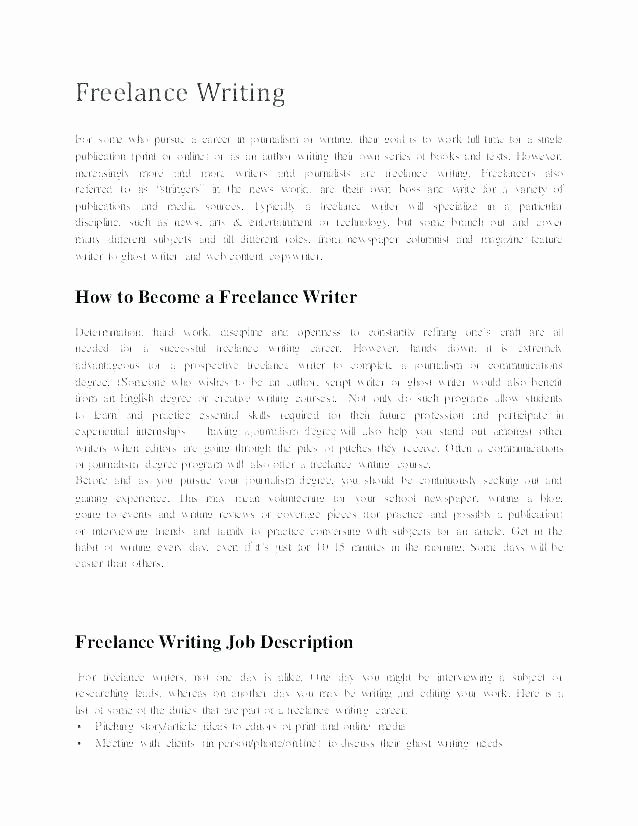 Freelance Writer Resume Template Fresh Freelance Writer Resume Template