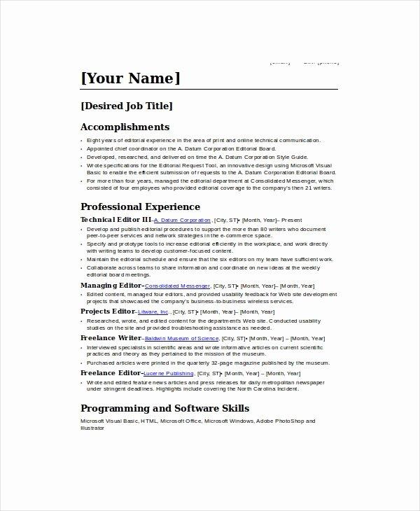 Freelance Writer Resume Template Lovely Freelance Resume Template 6 Free Word Pdf Documents