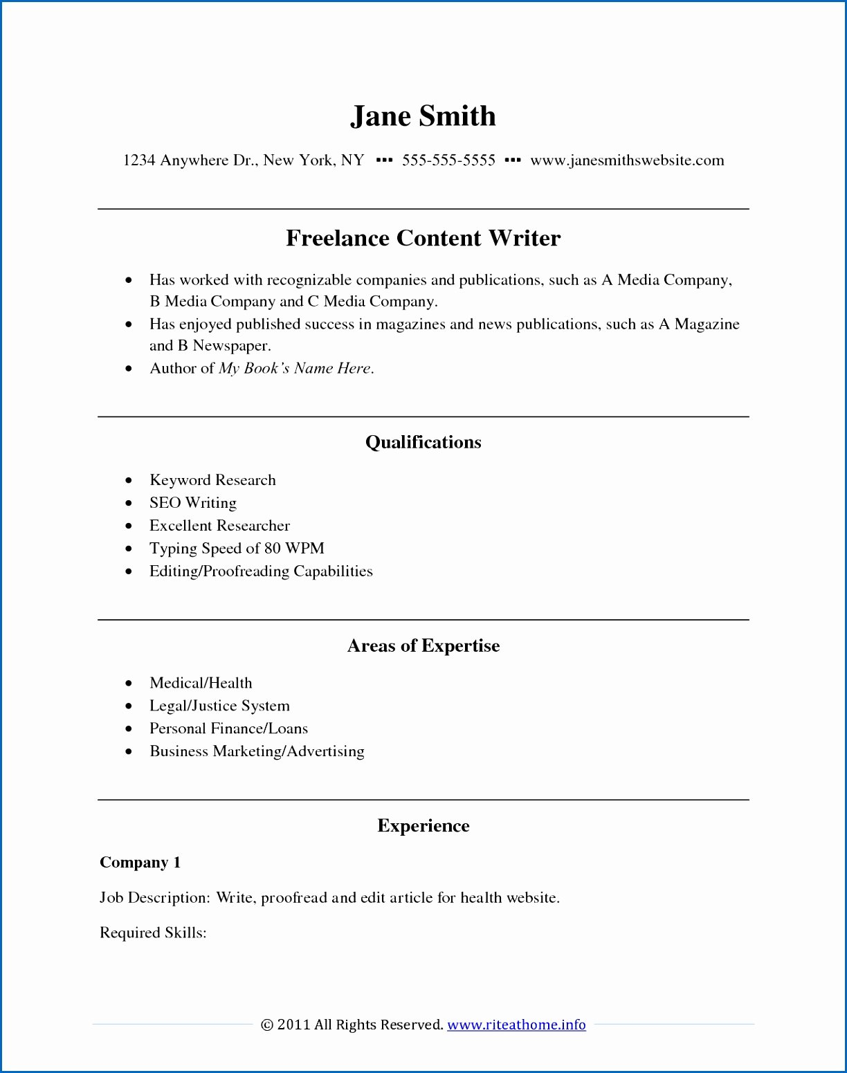Freelance Writer Resume Template Luxury 9 Freelance Writing Resume Samples
