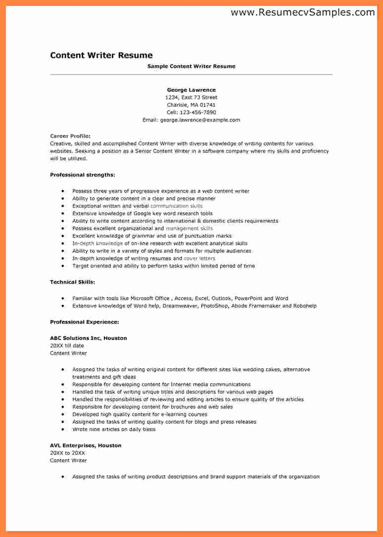 Freelance Writer Resume Template New 11 Freelance Writer Resume Template