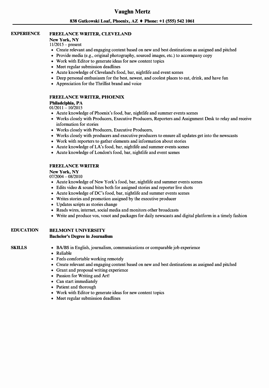 Freelance Writer Resume Template New Freelance Writer Resume Samples