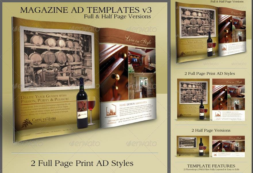 Full Page Ad Template Beautiful Print Ad Templates V3 Full & Half Page Designs ‹ Psdbucket