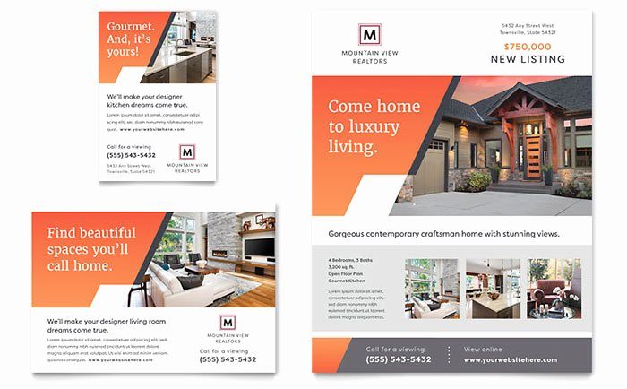 Full Page Ad Template Luxury Mountain Real Estate Flyer & Ad Template Design