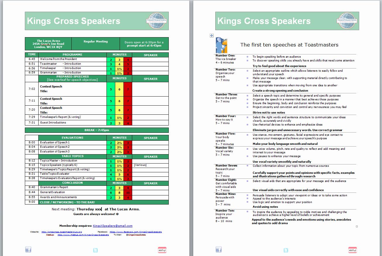Fun Meeting Agenda Template Best Of Kings Cross Speakers – Public Speaking Leadership Skills