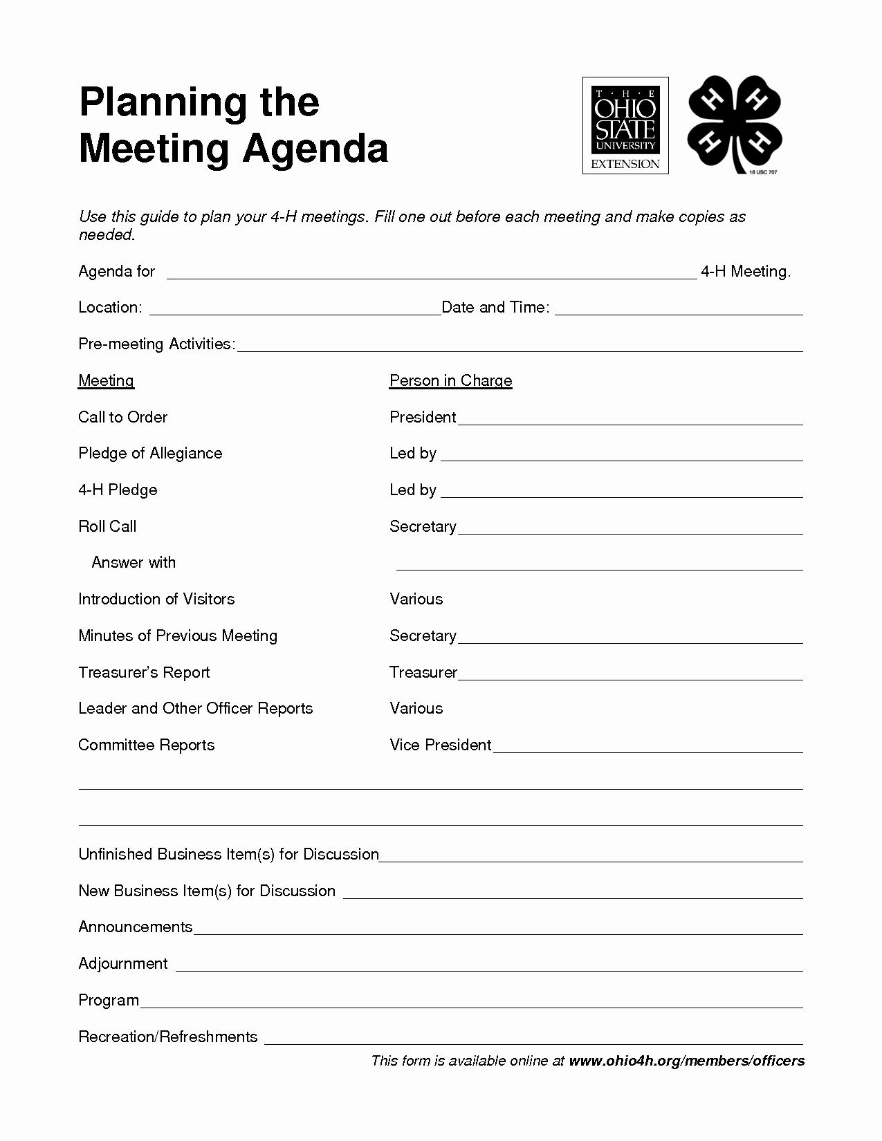 Fun Meeting Agenda Template Inspirational 4 H Meeting Agenda Template Google Search
