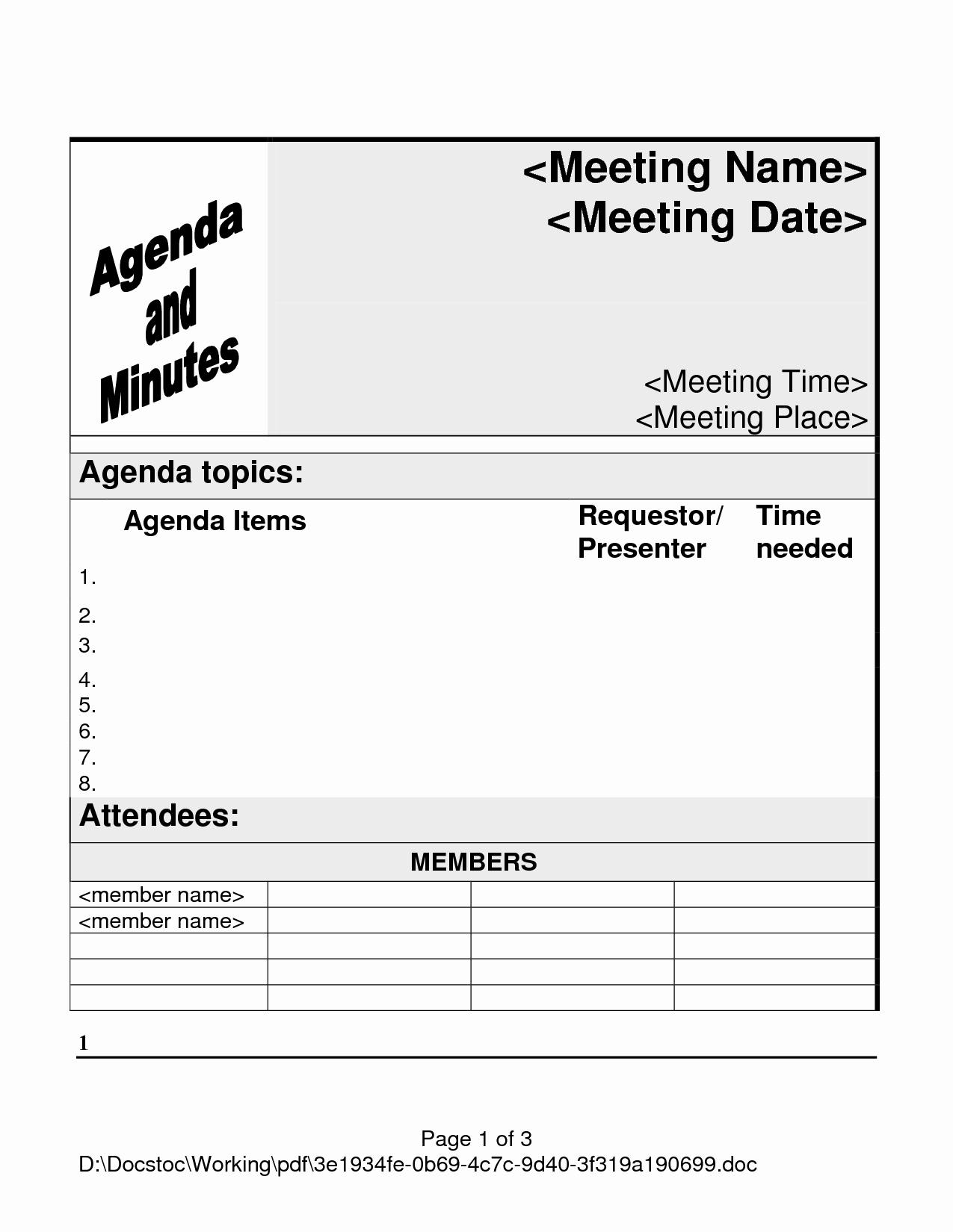 Fun Meeting Agenda Template Luxury 5 Best Of Meeting Agenda Template Pdf Printable