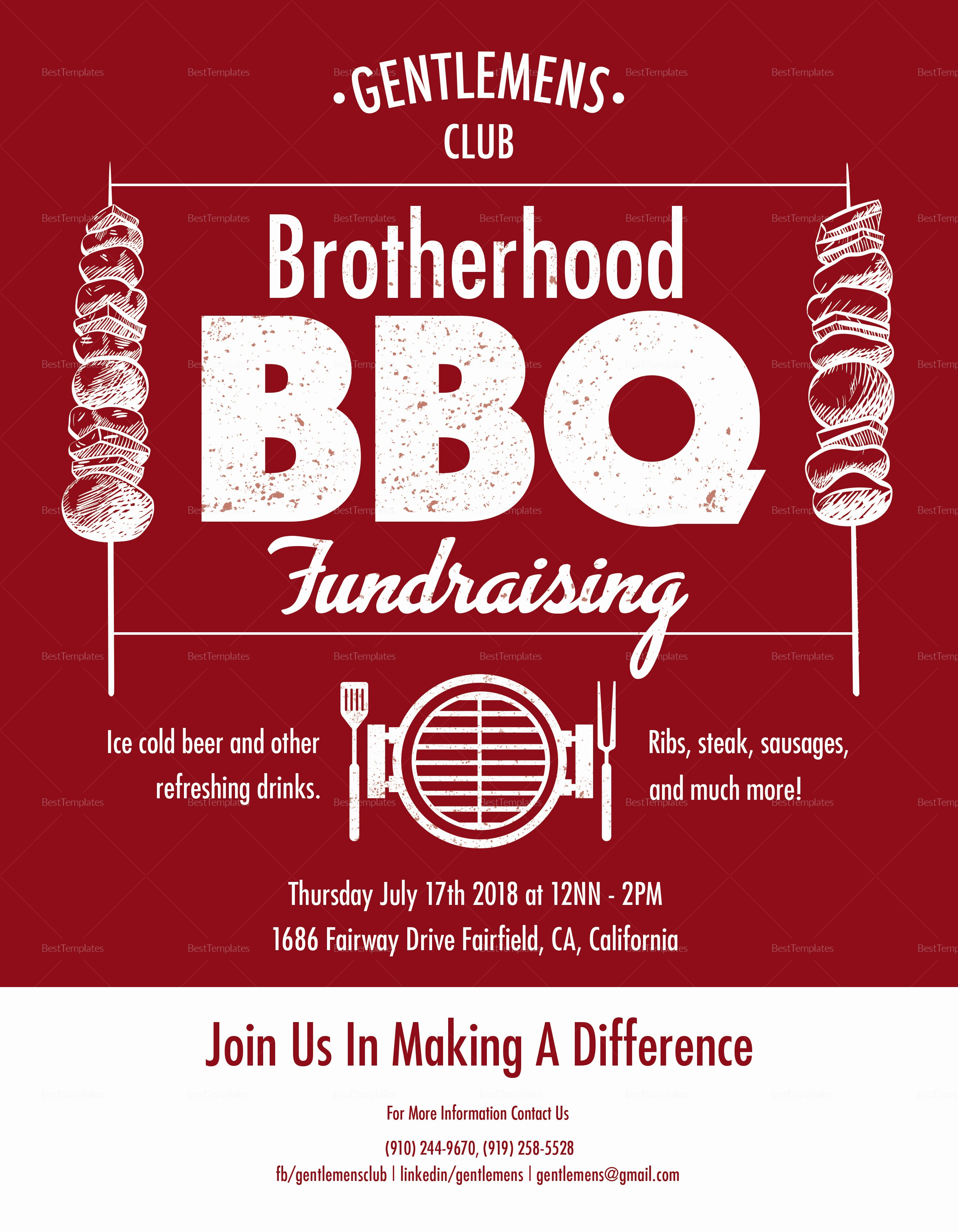 Fundraiser Flyer Template Free Fresh Barbecue Fundraising Flyer Design Template In Psd Word
