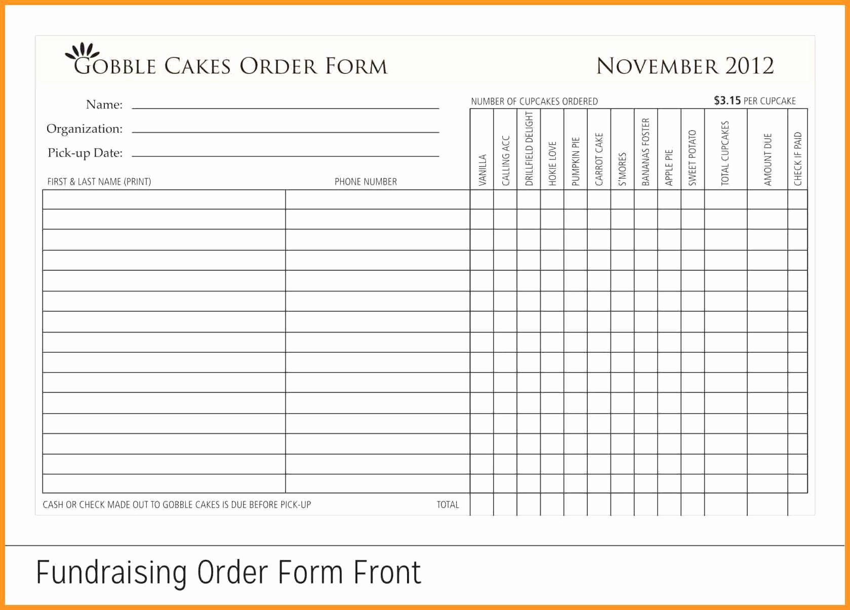 Fundraiser order form Template Free Awesome 7 8 Fundraising form