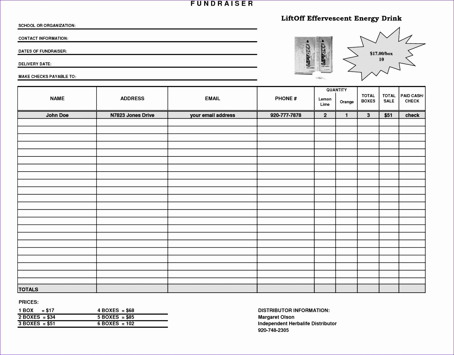 Fundraiser order form Template Free Fresh 10 Making A Template In Excel Exceltemplates